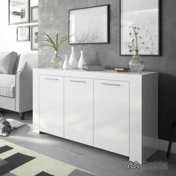 aparador blanco y madera buffet 006620a