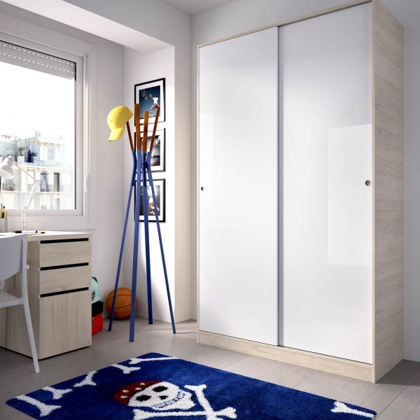 armario 2 puertas corredera plus 120 natural y blanco brillo 2