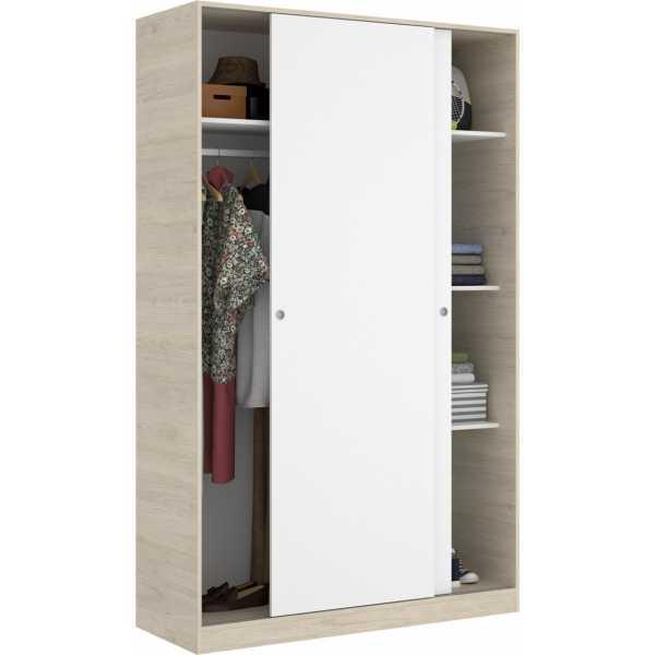 armario 2 puertas corredera plus 120 natural y blanco brillo 3