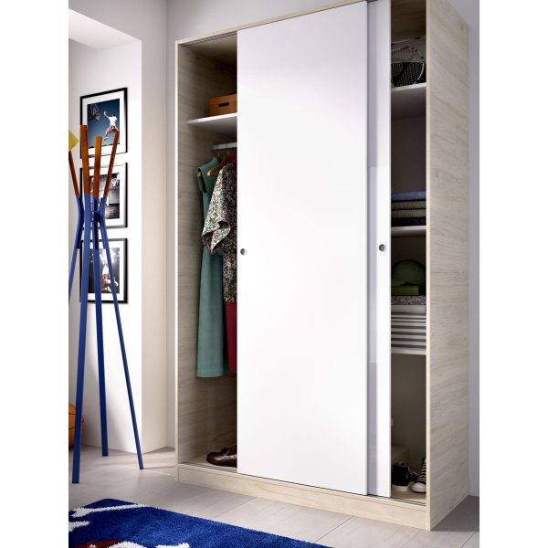 armario 2 puertas corredera plus 120 natural y blanco brillo 4