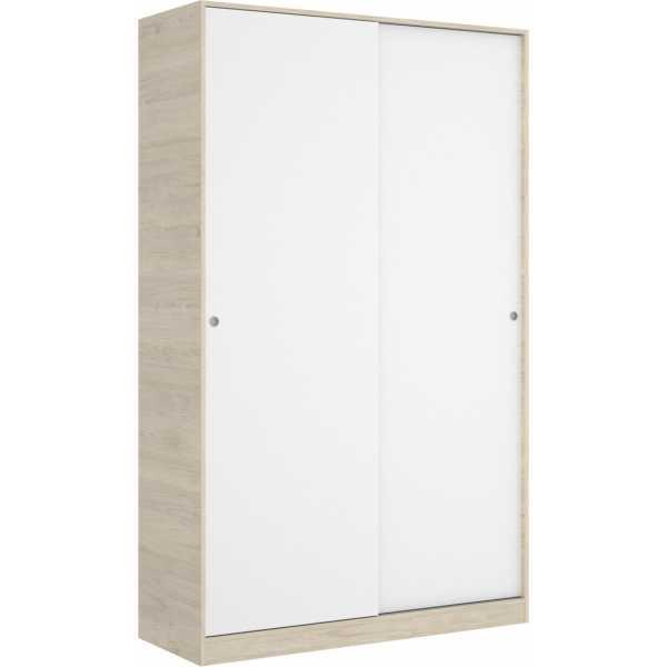 armario 2 puertas corredera plus 120 natural y blanco brillo