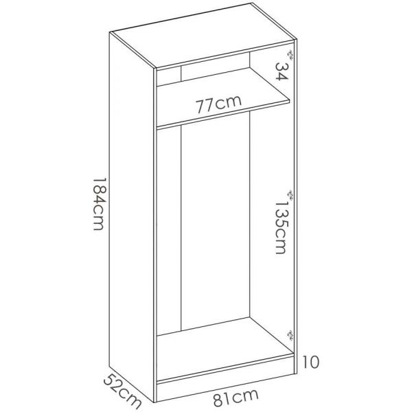 armario blanco 2 puertas 80 cm 5
