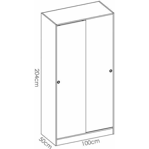 armario blanco brillo 2 puertas corredera 100 cm 5