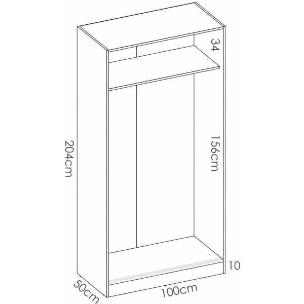 armario blanco brillo 2 puertas corredera 100 cm 6