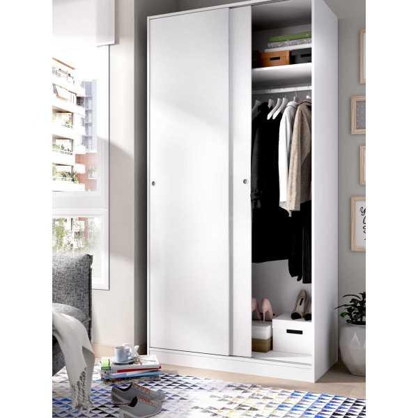 armario blanco brillo 2 puertas corredera 100 cm