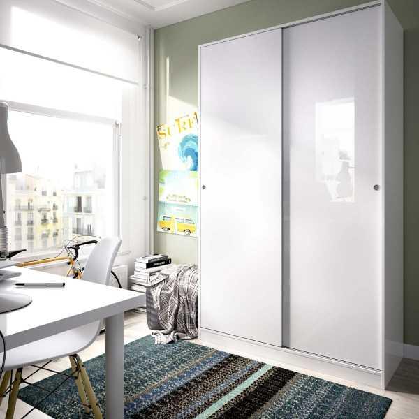 armario blanco brillo 2 puertas corredera 120 cm 3