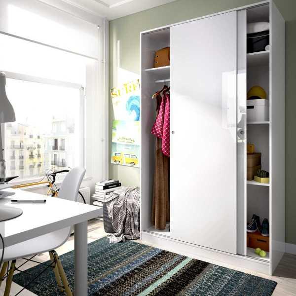 armario blanco brillo 2 puertas corredera 120 cm 4