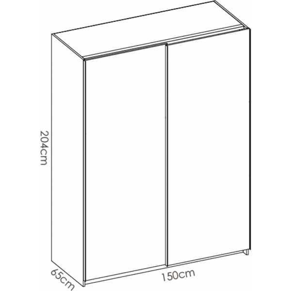 armario blanco brillo 2 puertas corredera 150 5