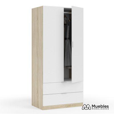 armario blanco y madera lc1222f
