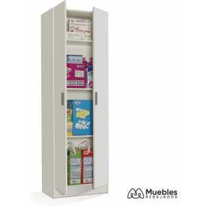 armario con estantes y puertas blanco 007144o
