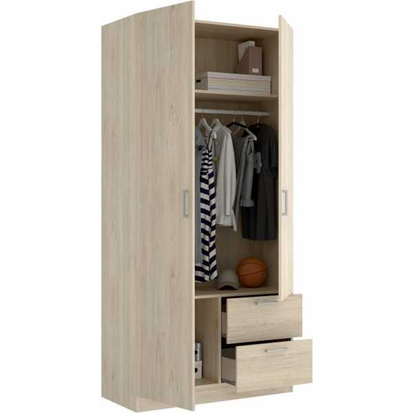 armario de 2 puertas y 2 cajones 100cm blanco 1