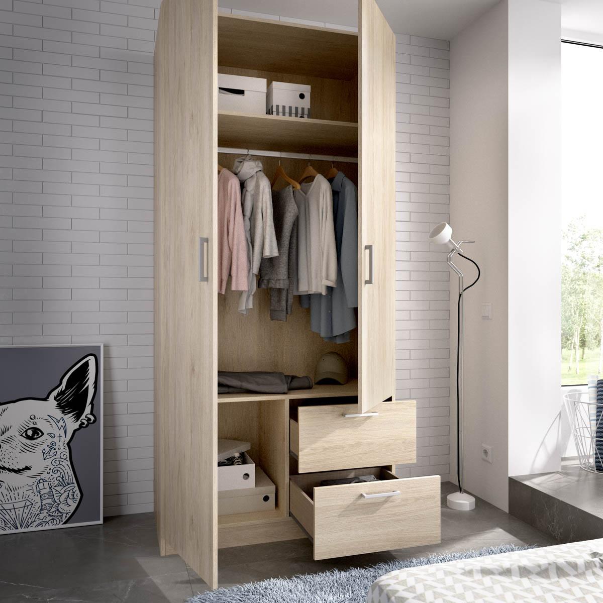 armario de 2 puertas y 2 cajones 100cm blanco 2