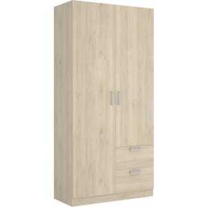 armario de 2 puertas y 2 cajones 100cm blanco 3