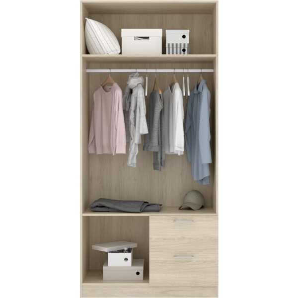 armario de 2 puertas y 2 cajones 100cm blanco 4