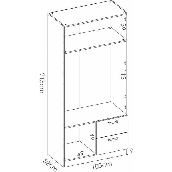 armario de 2 puertas y 2 cajones 100cm blanco 5