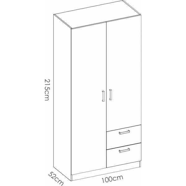 armario de 2 puertas y 2 cajones 100cm blanco 6