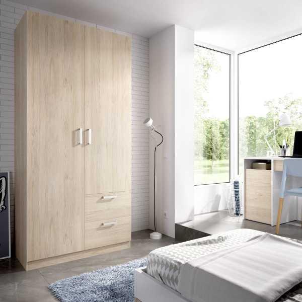 armario de 2 puertas y 2 cajones 100cm blanco