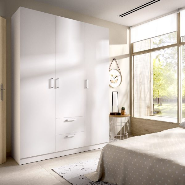 armario de 3 puertas y 2 cajones 150cm blanco 1