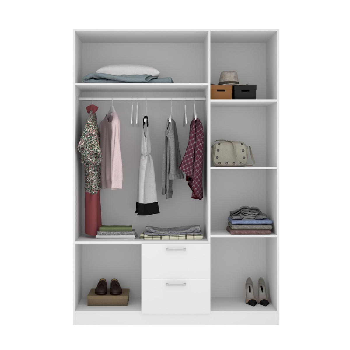armario de 3 puertas y 2 cajones 150cm blanco 10