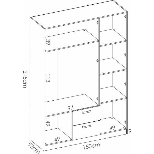 armario de 3 puertas y 2 cajones 150cm blanco 11