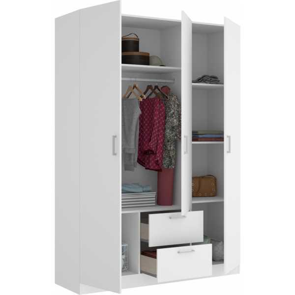 armario de 3 puertas y 2 cajones 150cm blanco 2