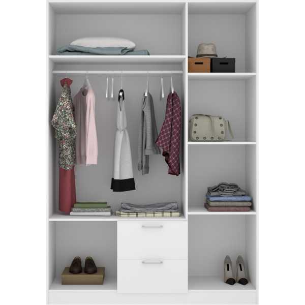 armario de 3 puertas y 2 cajones 150cm blanco 4