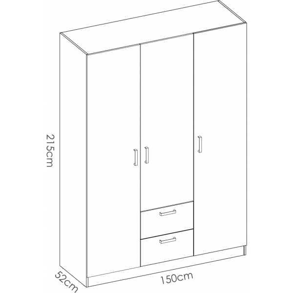 armario de 3 puertas y 2 cajones 150cm blanco 5