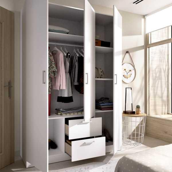 armario de 3 puertas y 2 cajones 150cm blanco