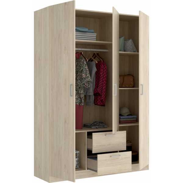 armario de 3 puertas y 2 cajones 150cm natural 1