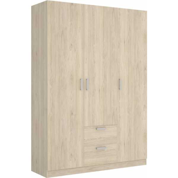 armario de 3 puertas y 2 cajones 150cm natural 2