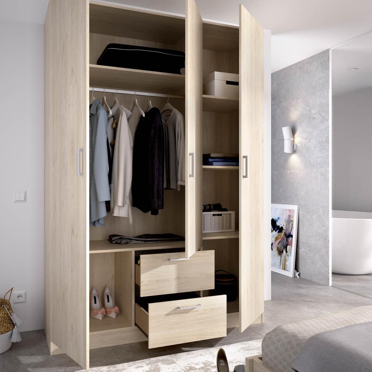 armario de 3 puertas y 2 cajones 150cm natural 4