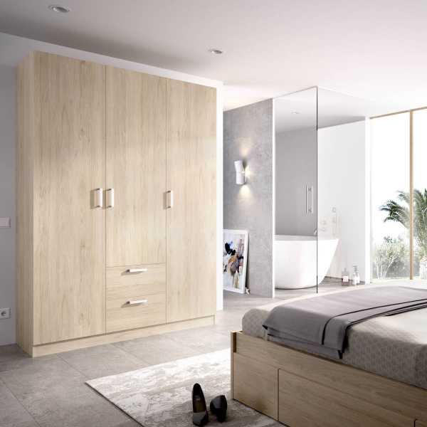 armario de 3 puertas y 2 cajones 150cm natural