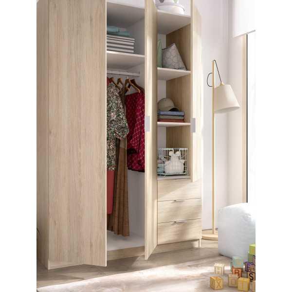 armario de 3 puertas y 3 cajones 121cm natural 3