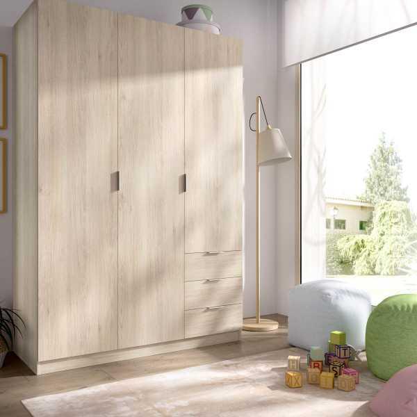 armario de 3 puertas y 3 cajones 121cm natural 4