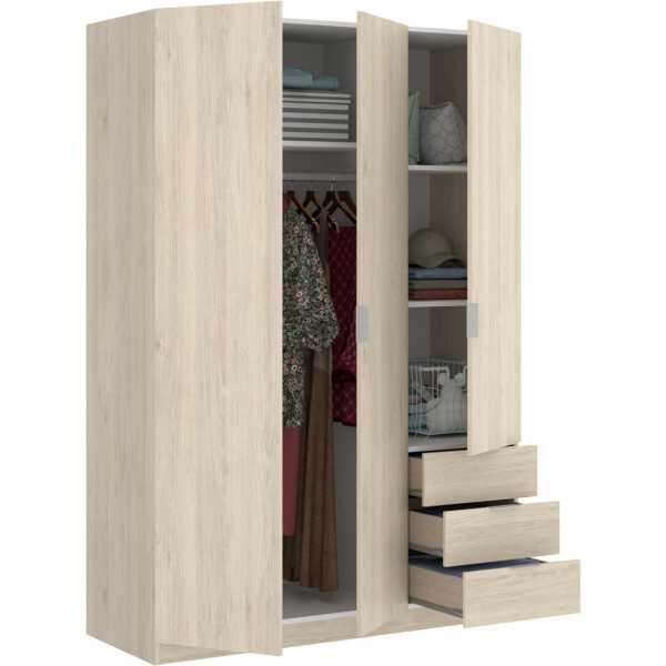 armario de 3 puertas y 3 cajones 121cm natural 5