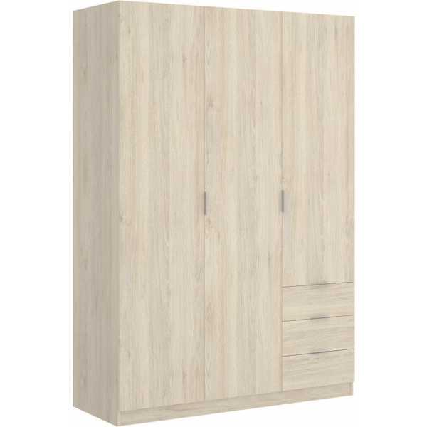 armario de 3 puertas y 3 cajones 121cm natural 6