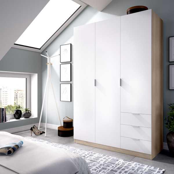 armario de 3 puertas y 3 cajones 121cm natural y blanco 5