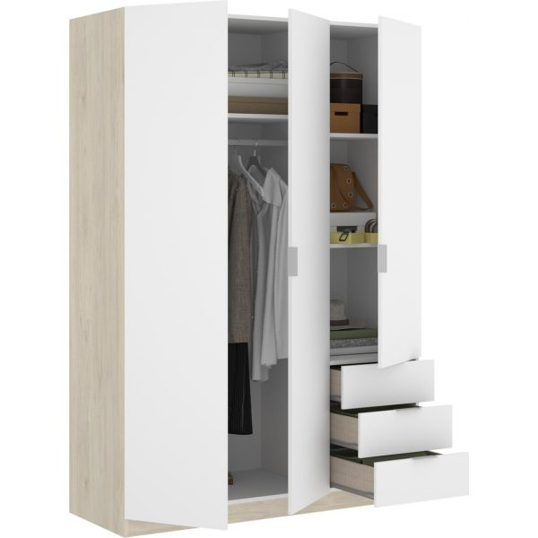 armario de 3 puertas y 3 cajones 121cm natural y blanco 6