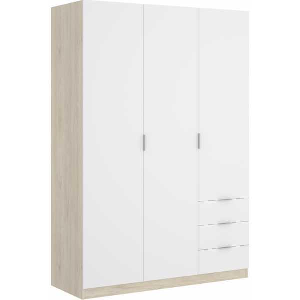 armario de 3 puertas y 3 cajones 121cm natural y blanco 7