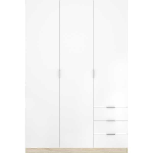 armario de 3 puertas y 3 cajones 121cm natural y blanco 8