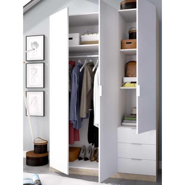 armario de 3 puertas y 3 cajones 121cm natural y blanco 9
