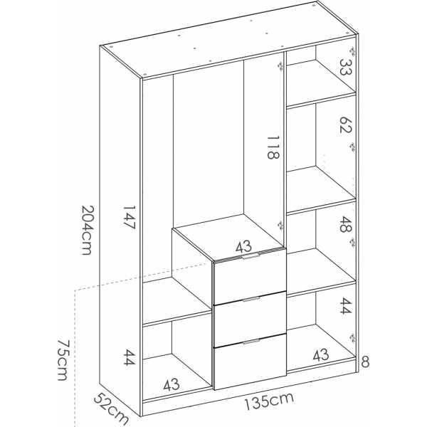 armario de 3 puertas y 3 cajones 135cm blanco brillo 1