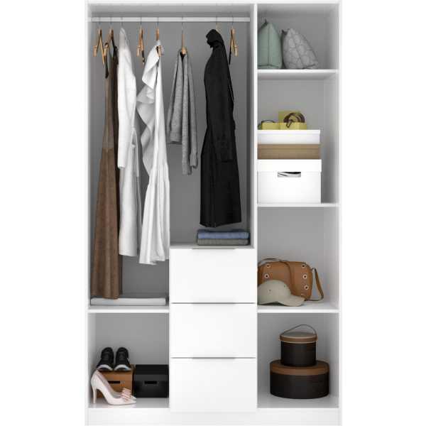 armario de 3 puertas y 3 cajones 135cm blanco brillo 4