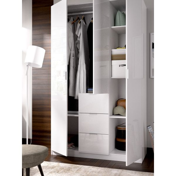 armario de 3 puertas y 3 cajones 135cm blanco brillo 6