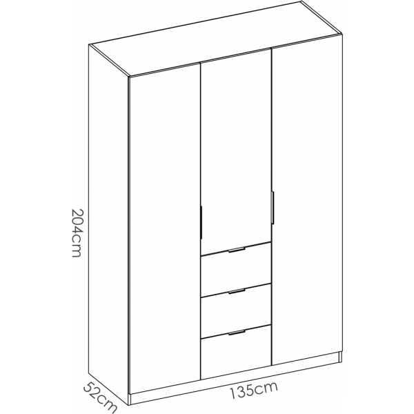 armario de 3 puertas y 3 cajones 135cm blanco brillo