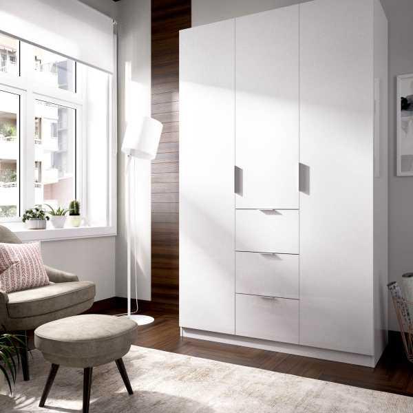 armario de 3 puertas y 3 cajones 135cm blanco brillo 7
