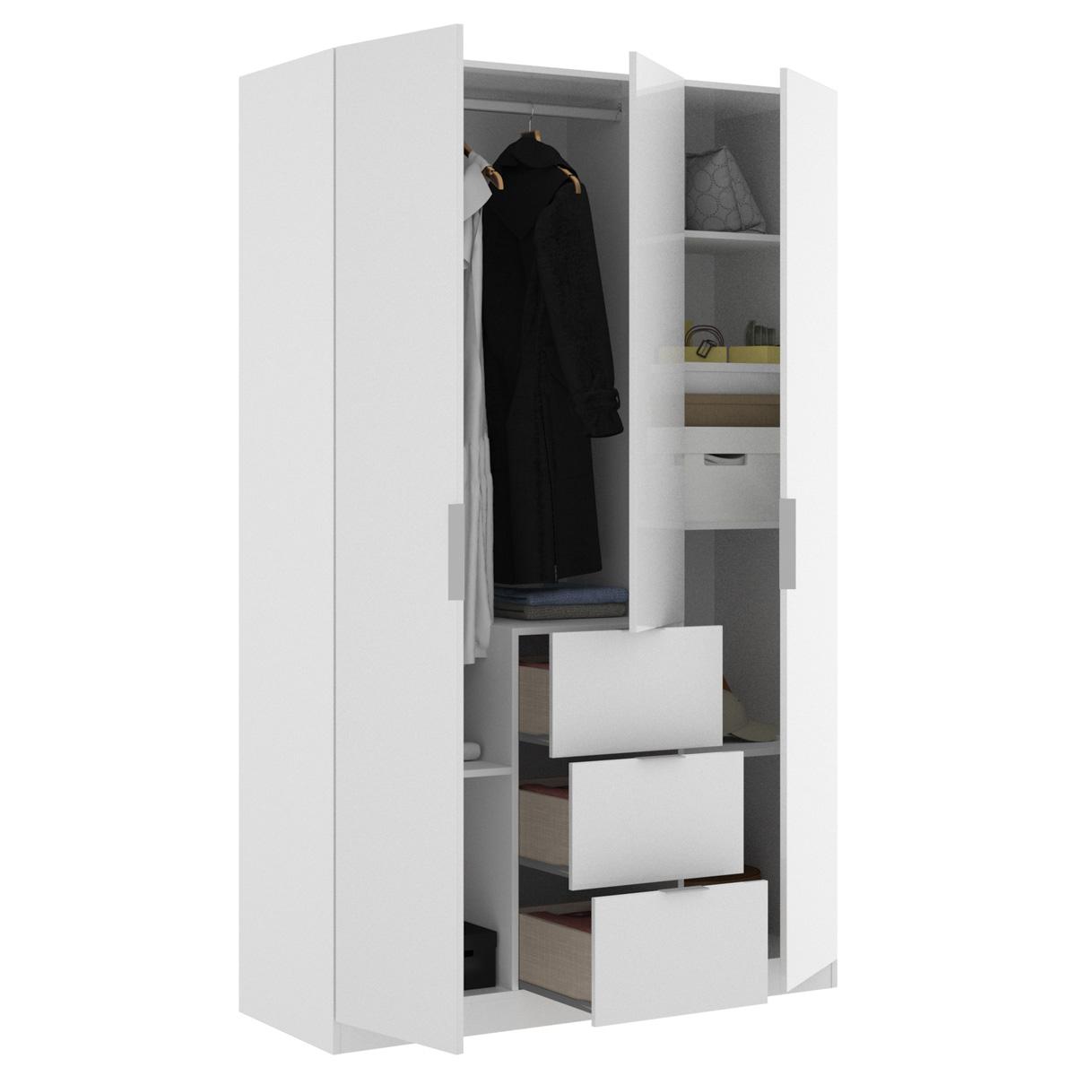 armario de 3 puertas y 3 cajones 135cm blanco brillo 8