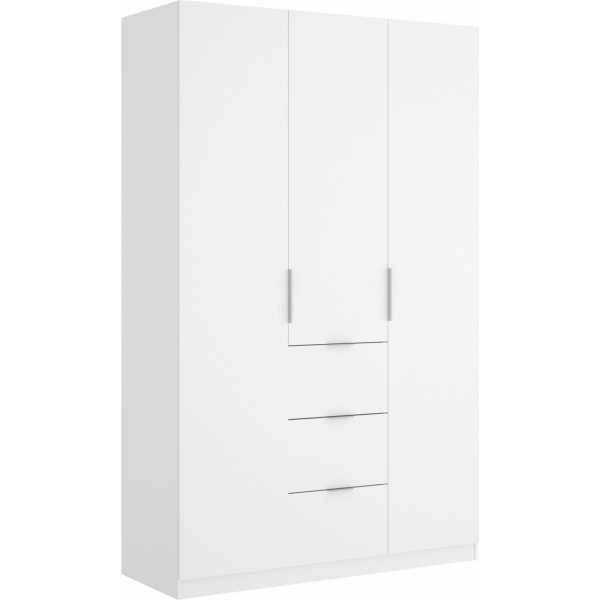 armario de 3 puertas y 3 cajones 135cm blanco brillo 9