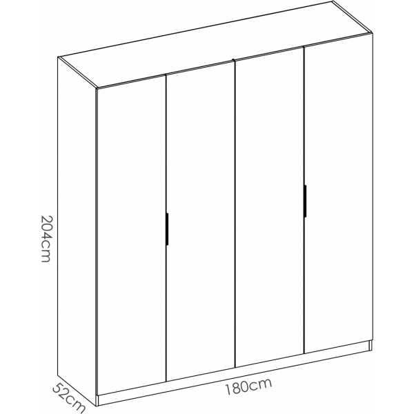 armario de 4 puertas 180cm blanco 6