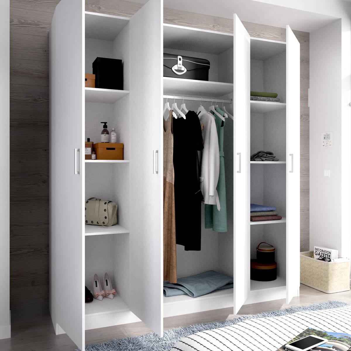 armario de 4 puertas 200cm blanco 4